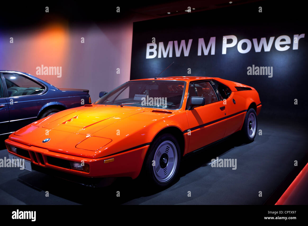 BMW M1 sports car on display at the BMW Museum and Headquarters in Munich, Bavaria, Germany - Stock Image