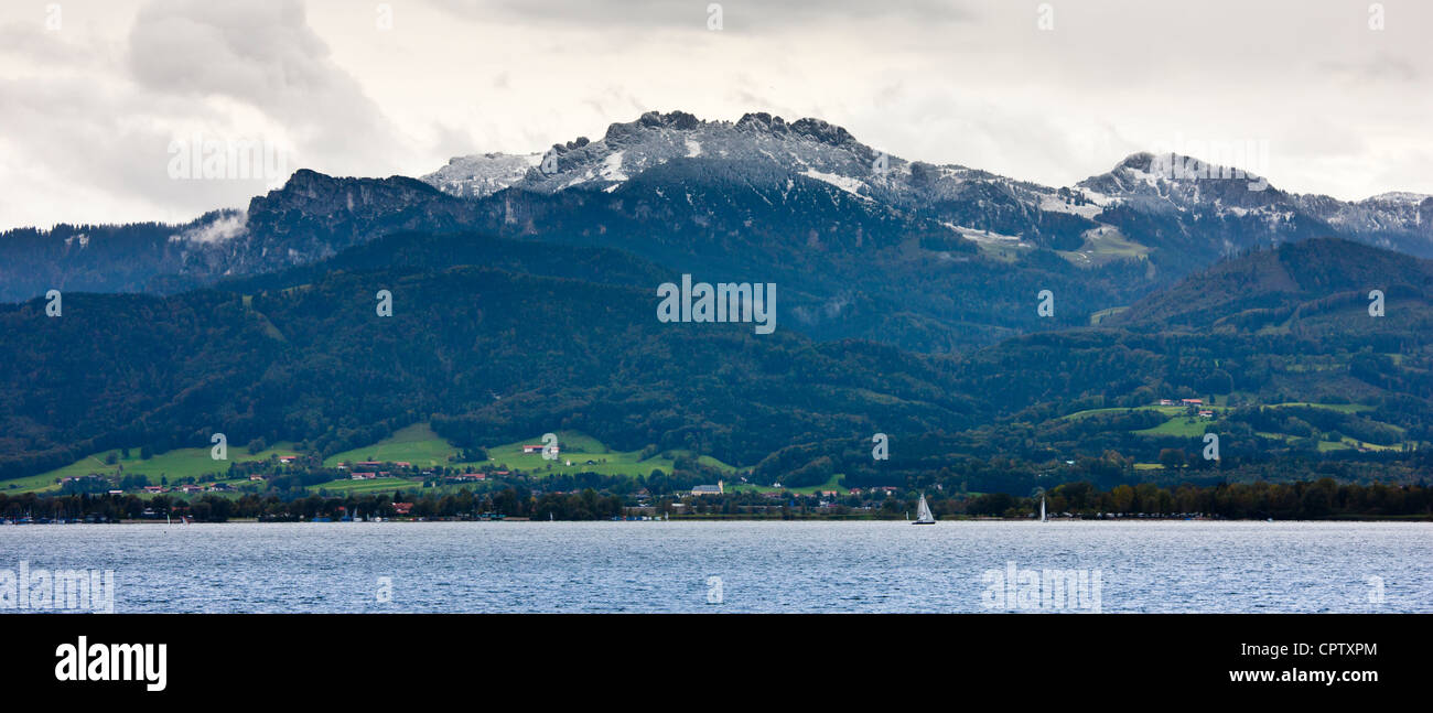 Chiemsee Lake and Bavarian Alps in Baden-Wurttenberg, Bavaria, Germany Stock Photo