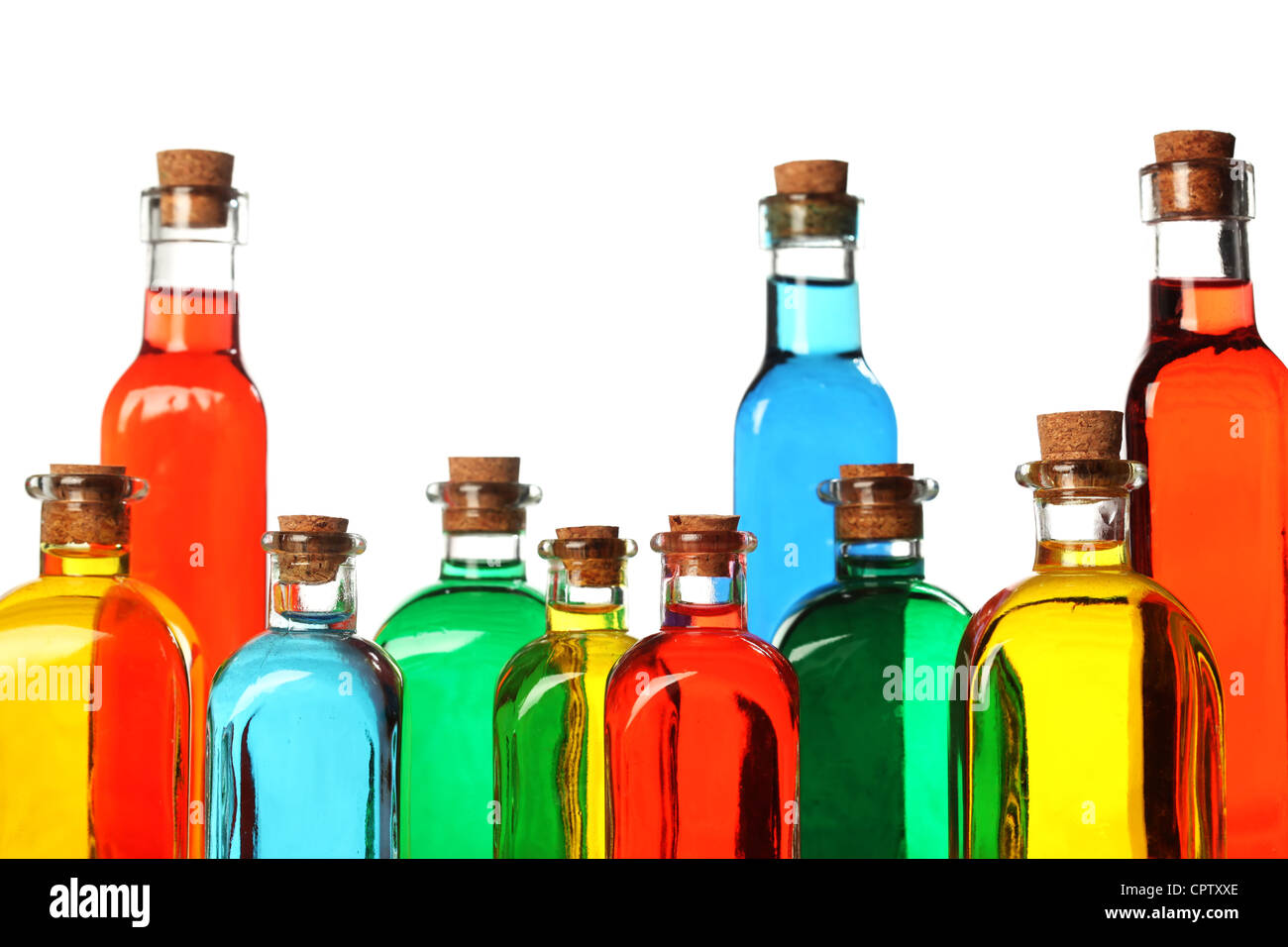 Colorful glass bottles - Stock Image