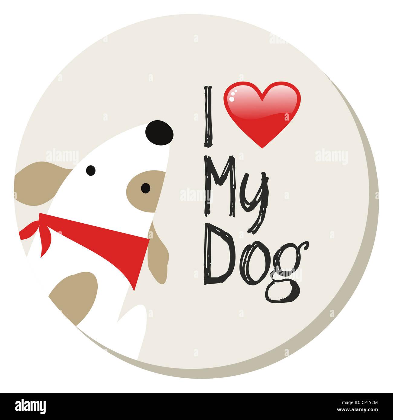 I Love My Dog Cartoon Design Sticker Background Vector File Layered Stock Photo Alamy