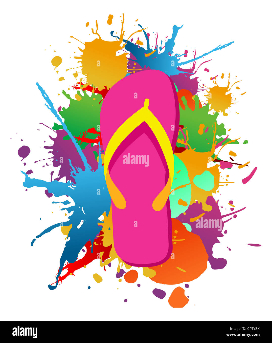 Flip Flops Over Paint Color Splash Isolated Over White Vector File