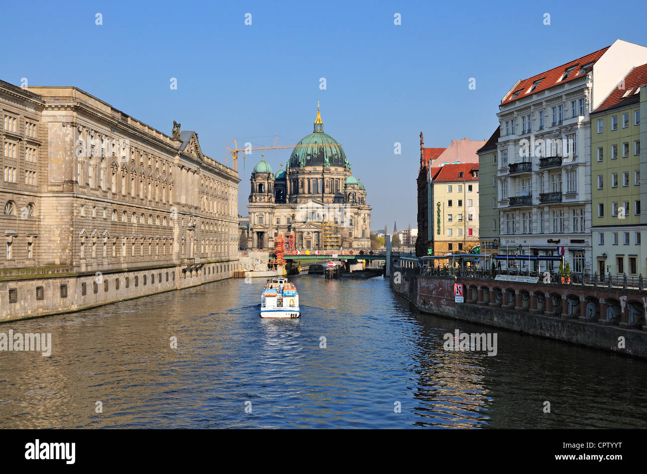 Berlin, Germany. Berliner Dom / Berlin Cathedral (1905, but largely rebuilt after sever damage in WW2) seen from - Stock Image