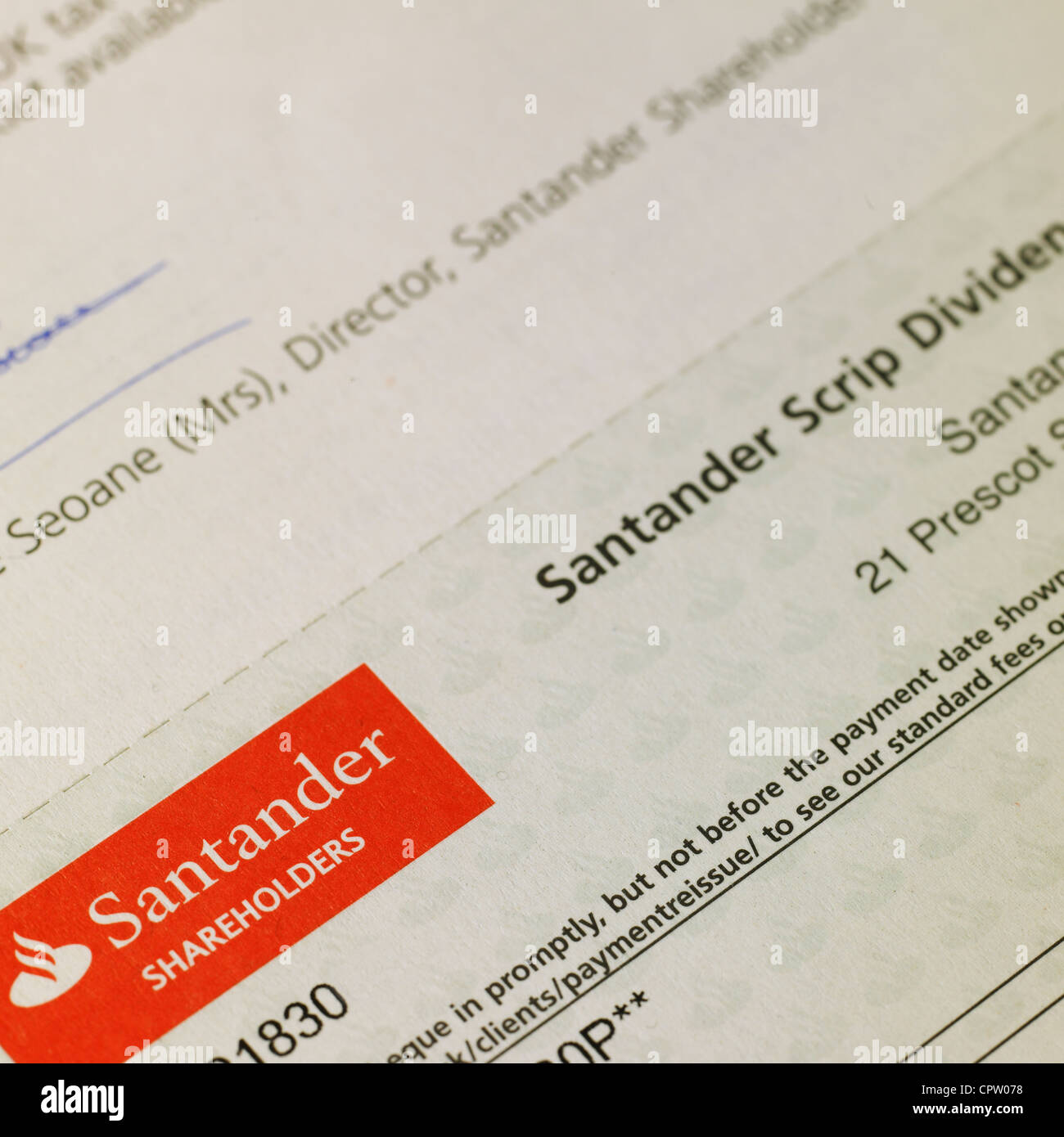 Santander Shareholders Scrip Dividend cheque - Stock Image
