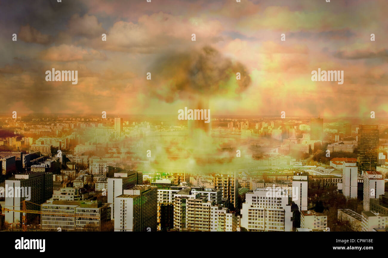 nuclear bomb in the city concept of vision apocaliptic world - Stock Image