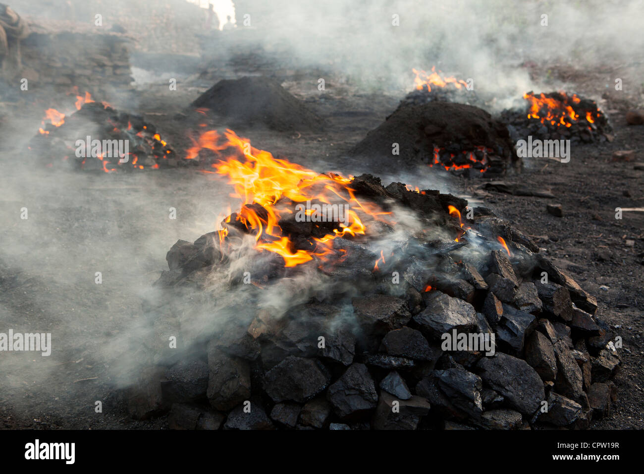 Per-burn( for remove small and toxic gas) for prepare sale to market, Jharia, Dhanbad, Jharkhand, India - Stock Image