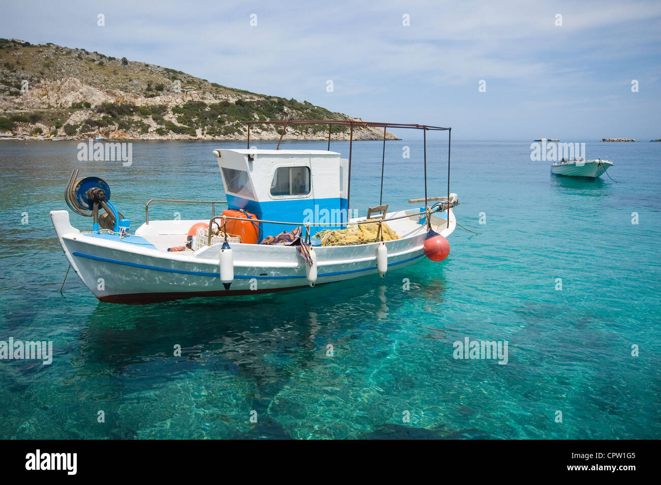 Fishing boat moored in the port, Zakynthos - Stock Image