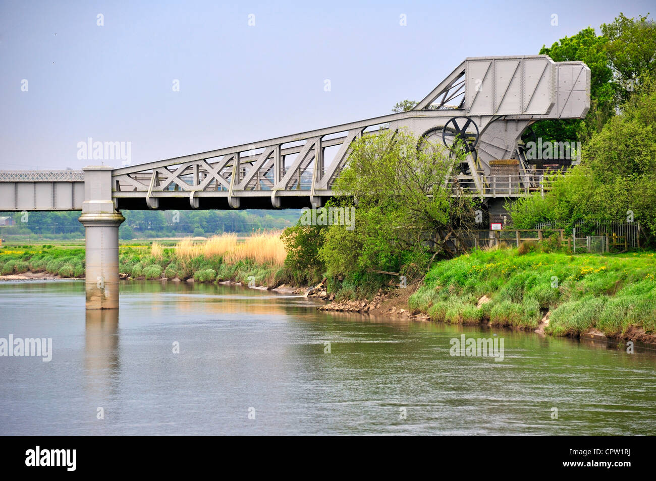 Bascule bridge at Carmarthen, over the River Towy - Stock Image