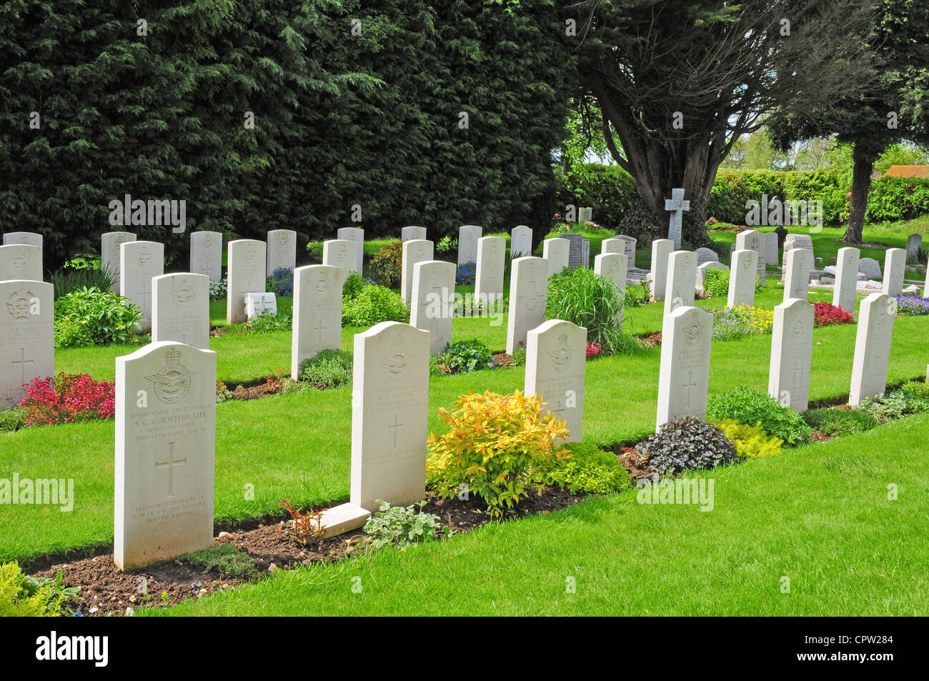 Graves and tombstones of pilots who died in World War Two. Tangmere. - Stock Image