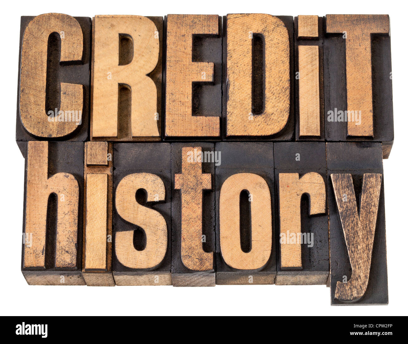 credit history - finance concept - isolated text in vintage letterpress wood type - Stock Image