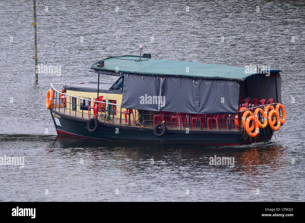 Tourist boat with safety equipment ,periyar tiger reserve ,Kerala - Stock Image