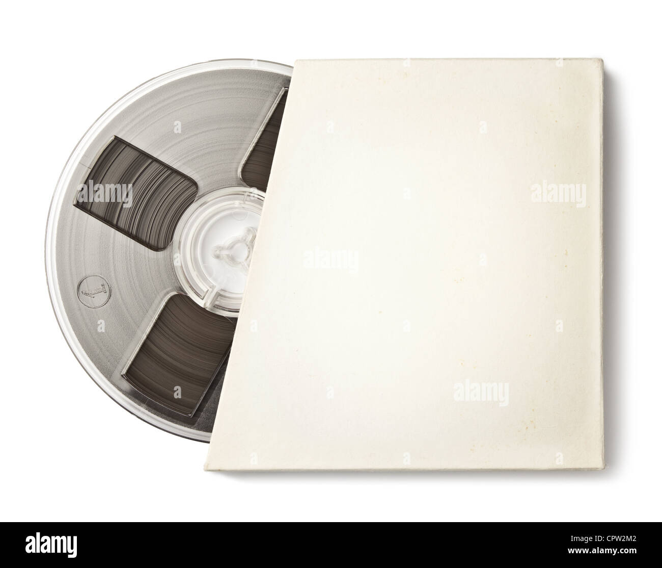Vintage magnetic audio reel in a blank paper package. - Stock Image