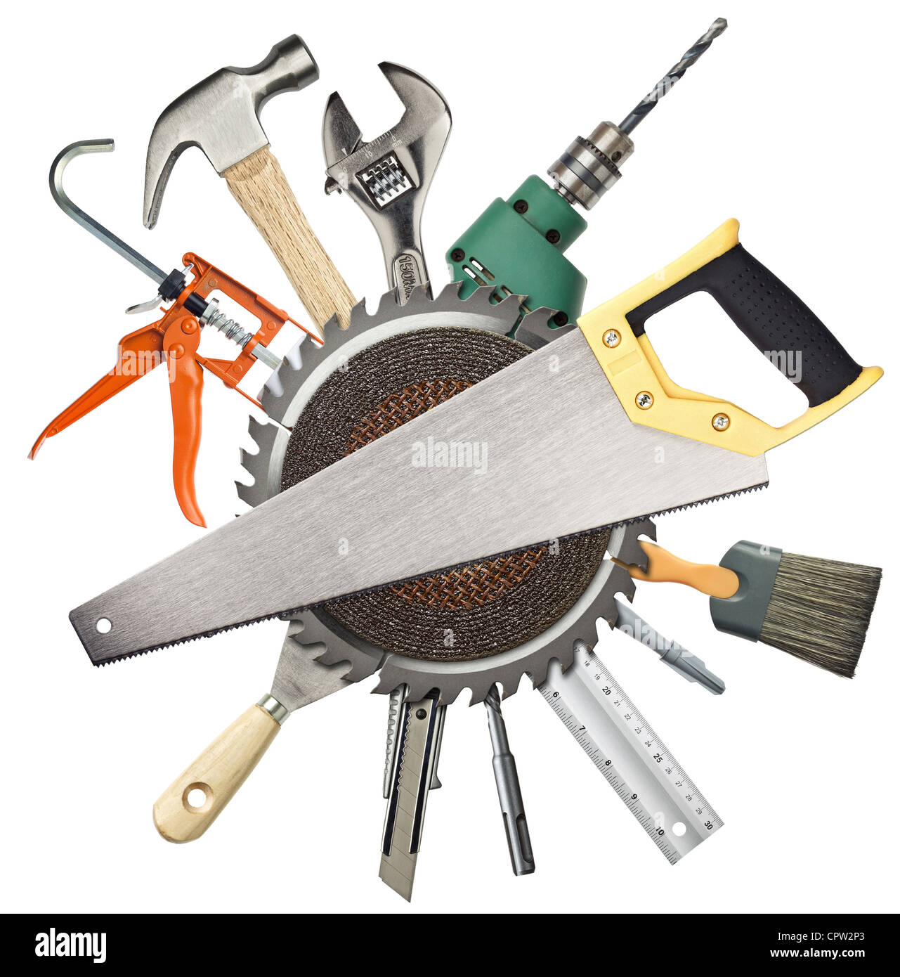 Carpentry, construction hardware tools collage Stock Photo