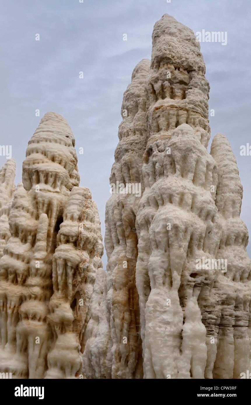 Stalagmites at the Oriental Shanghai Geological Museum Shanghai China - Stock Image