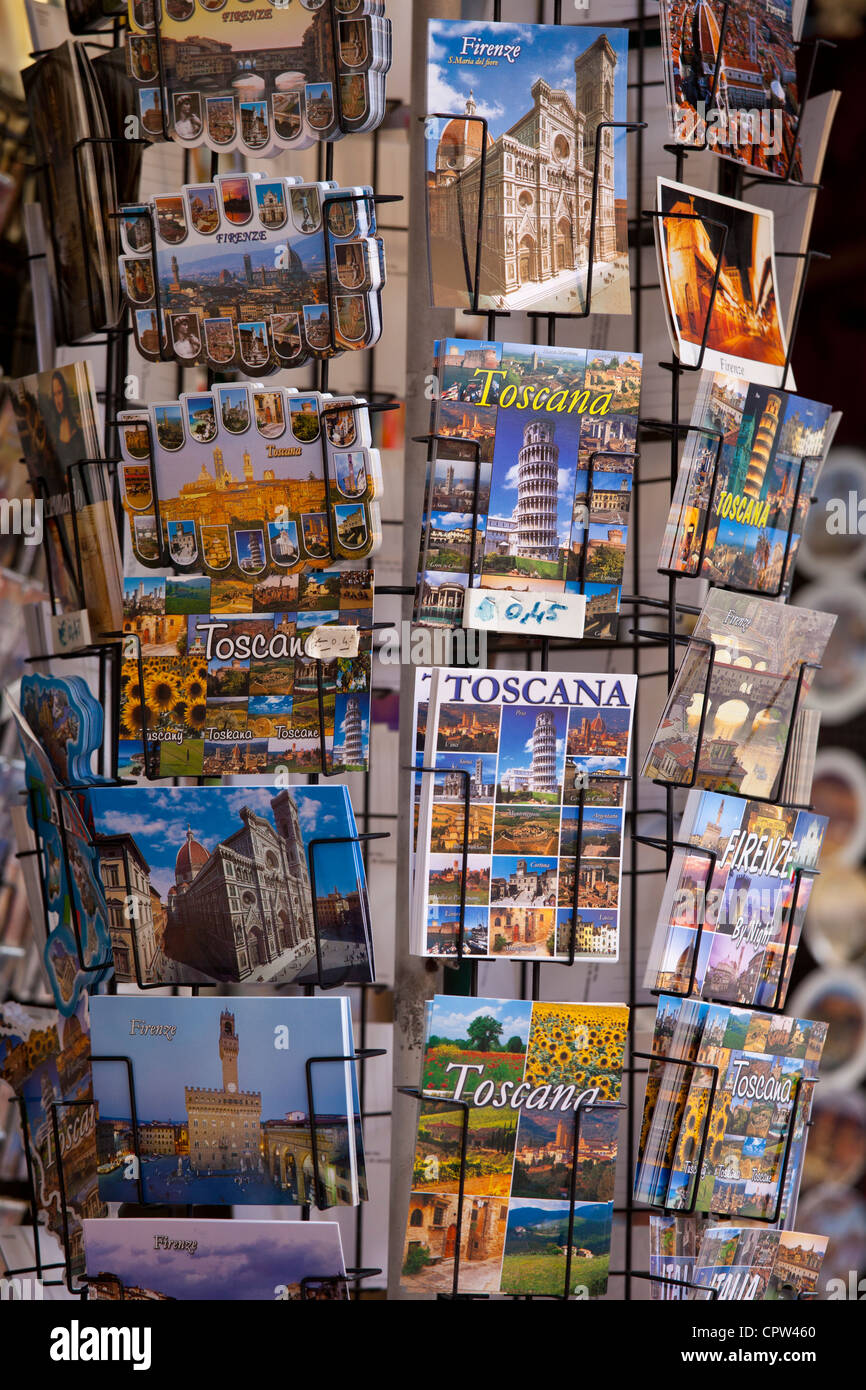 Souvenir stall in shop on the Ponte Vecchio, Florence, Tuscany, Italy - Stock Image