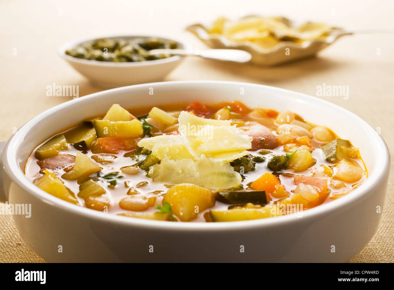 French vegetable soup, soupe au pistou, made from summer vegetables Stock Photo