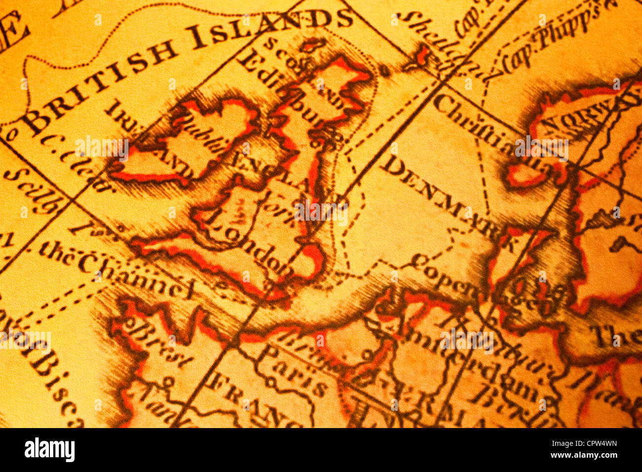 Old map of Britain British Isles UK United Kngdom and Northern Europe. Map is from 1786 and is out of copyright. - Stock Image