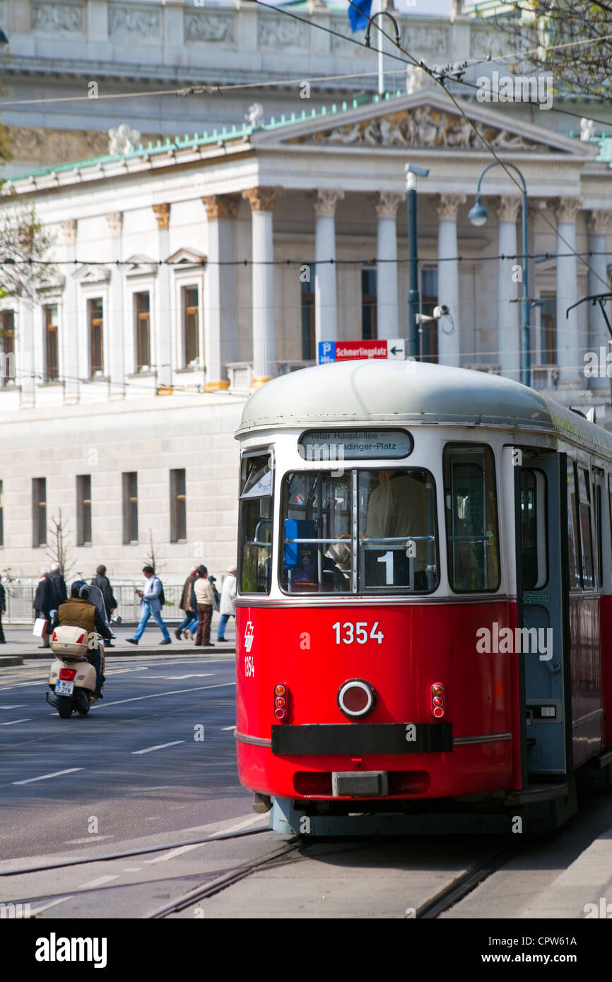 Red tram in Vienna, Austria - Stock Image