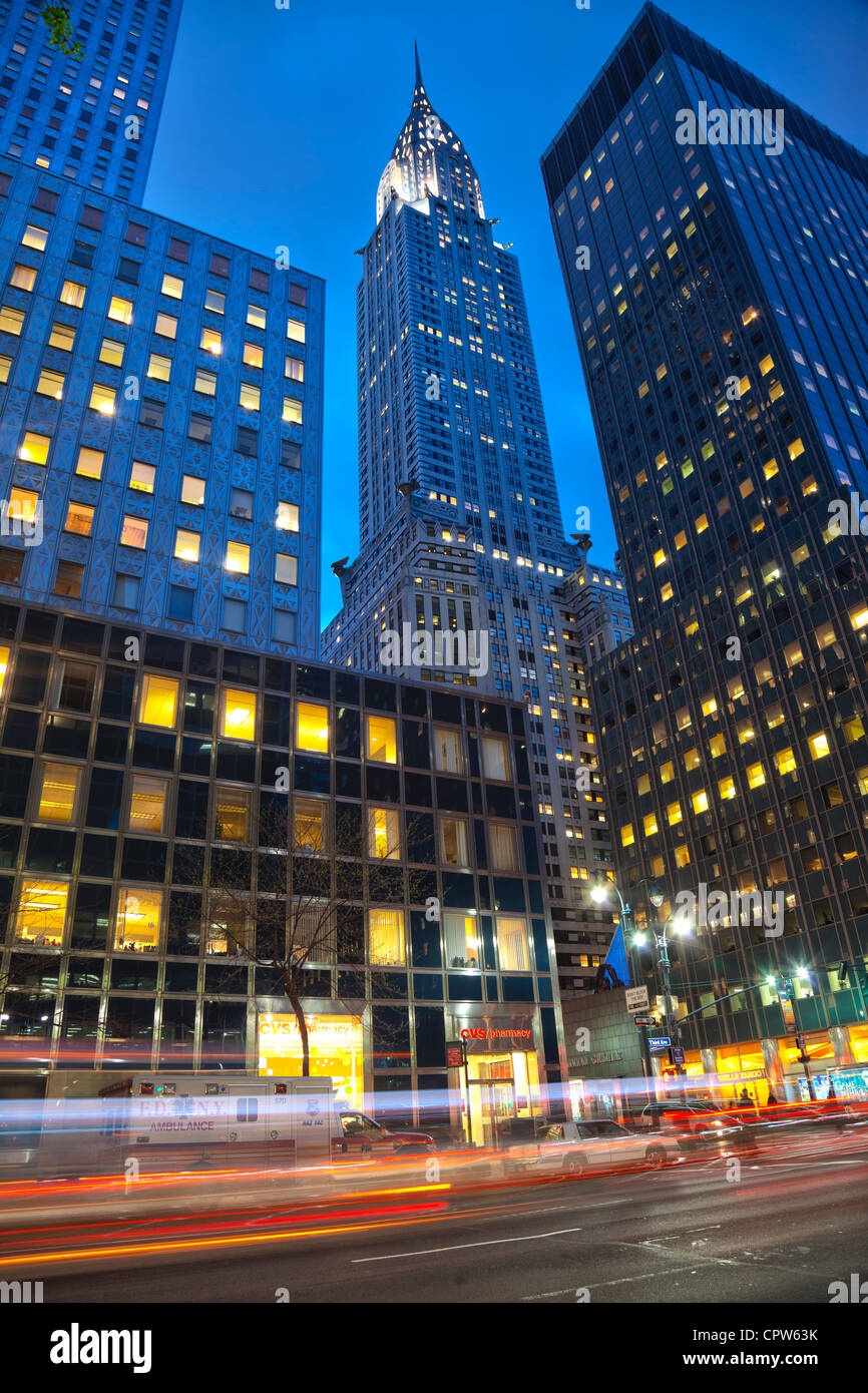 Chrysler Building at 42nd St and Lexington Avenue, New York City. - Stock Image