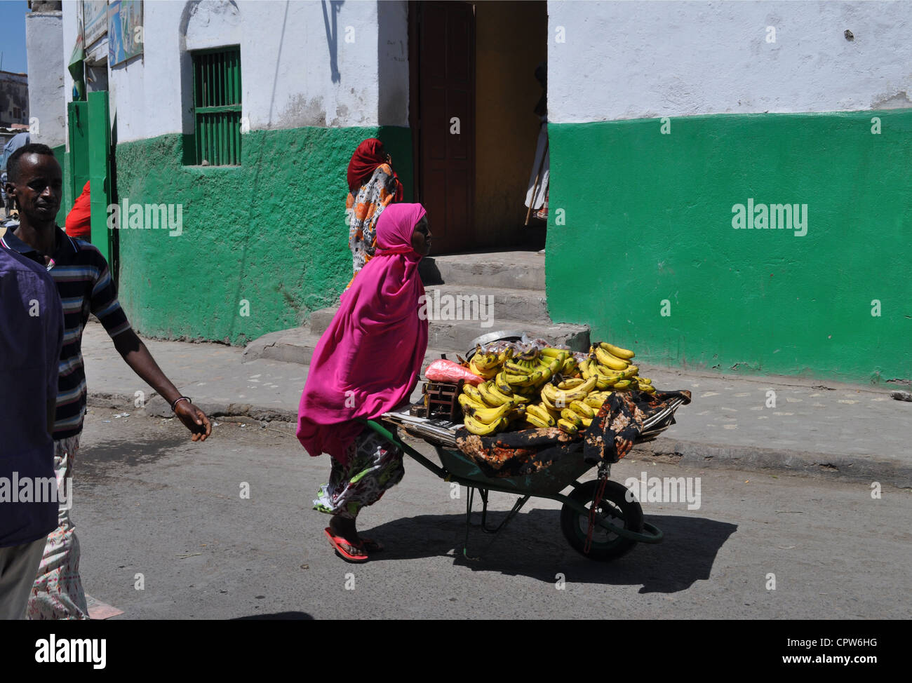 A street scene in Djibouti City - Stock Image