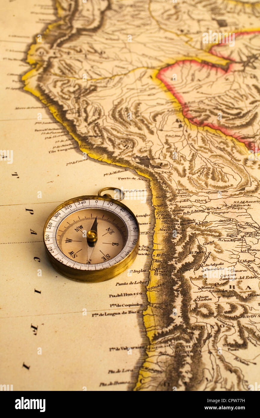 Ancient map of Chile coastline and grungy old compass. Map is from 1817 and is out of copyright. - Stock Image