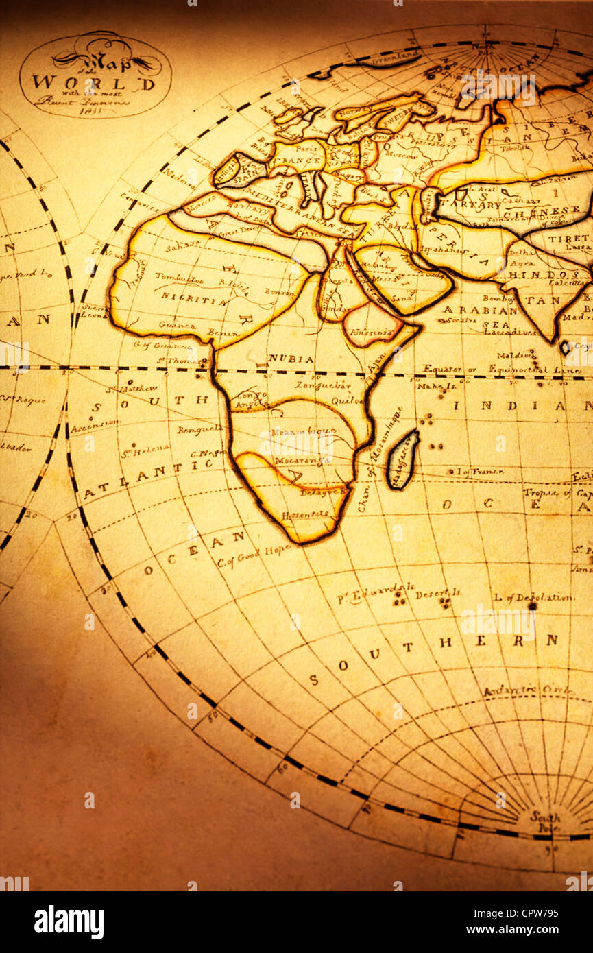 Part of old world map showing europe africa and part of asia stock part of old world map showing europe africa and part of asia gumiabroncs Choice Image