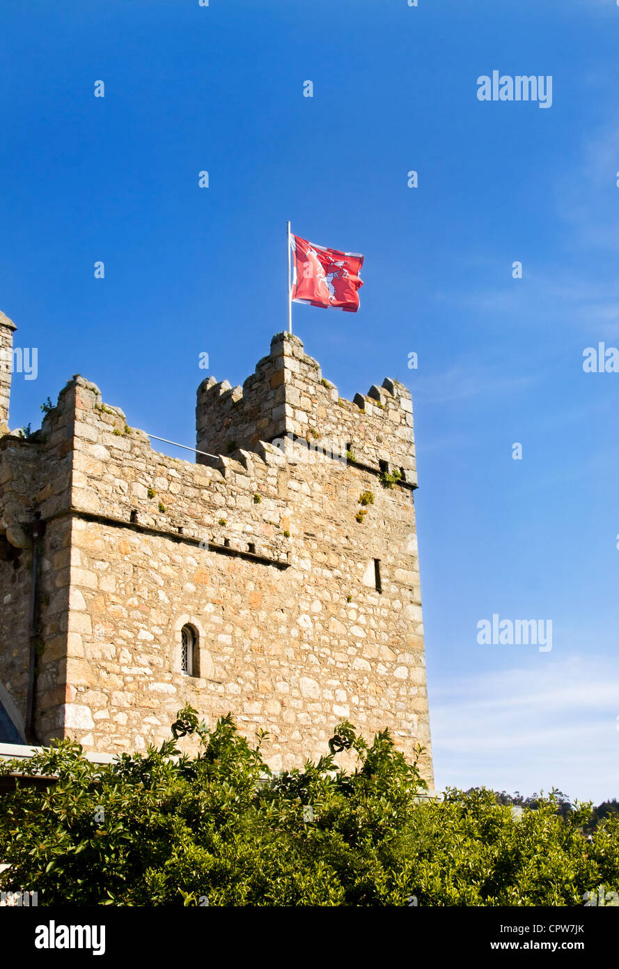 Watch tower at medieval castle in Dalkey, Ireland. - Stock Image