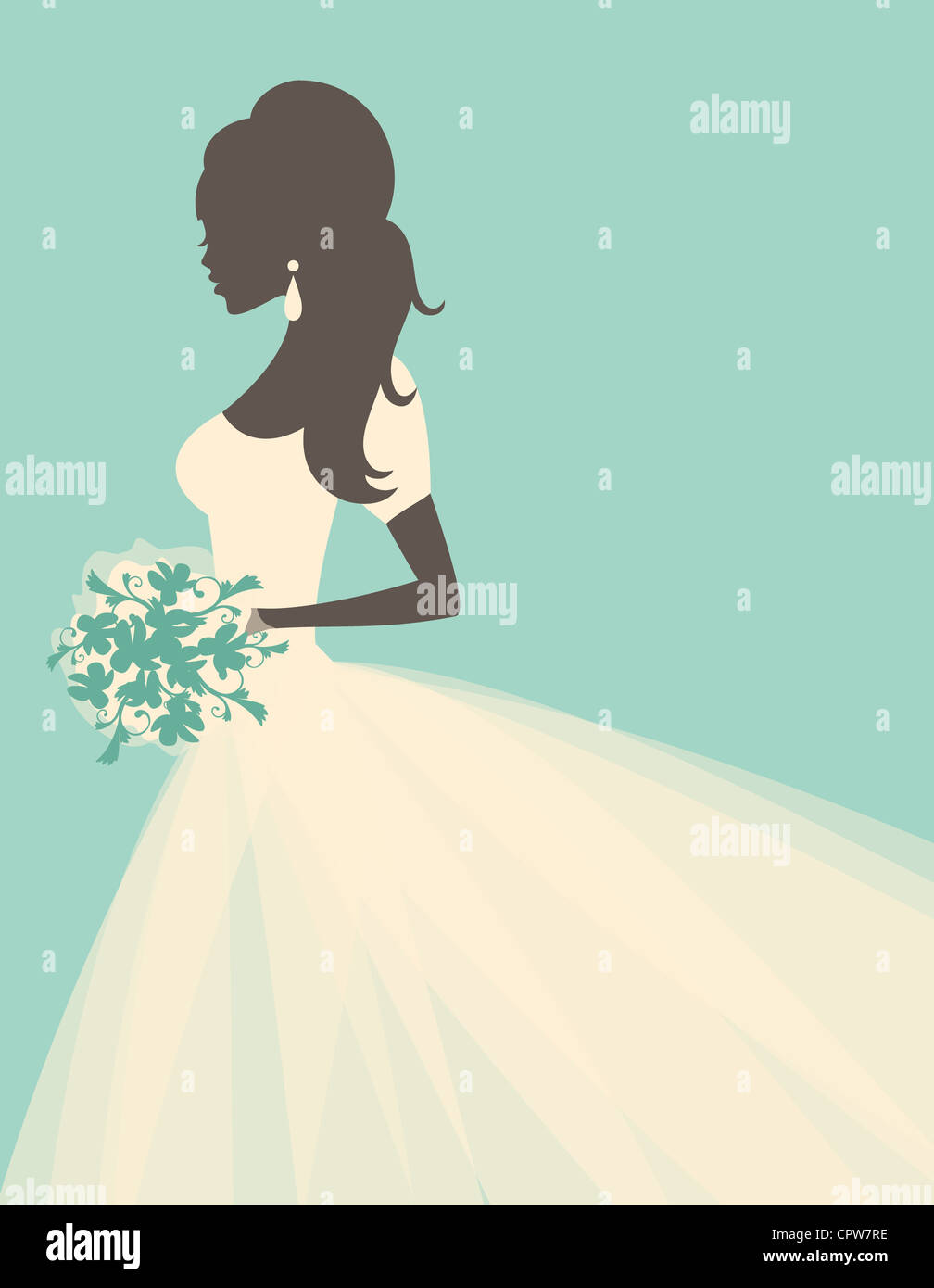 Illustration of a beautiful bride holding flowers. - Stock Image