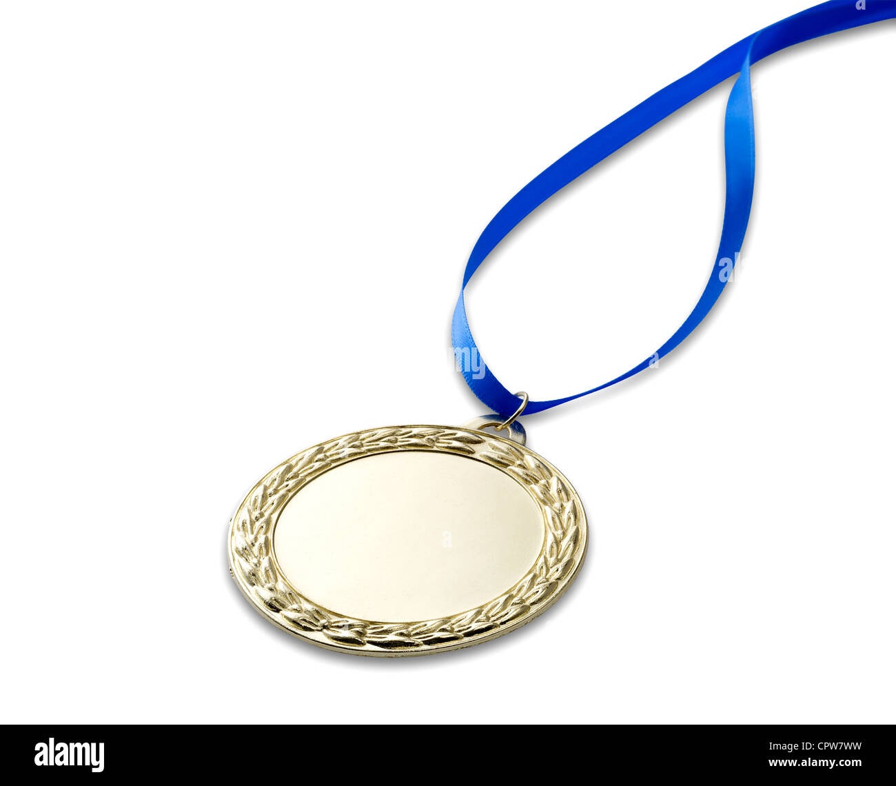 A gold olympics medal with clipping path isolated on white with blue ribbon - Stock Image