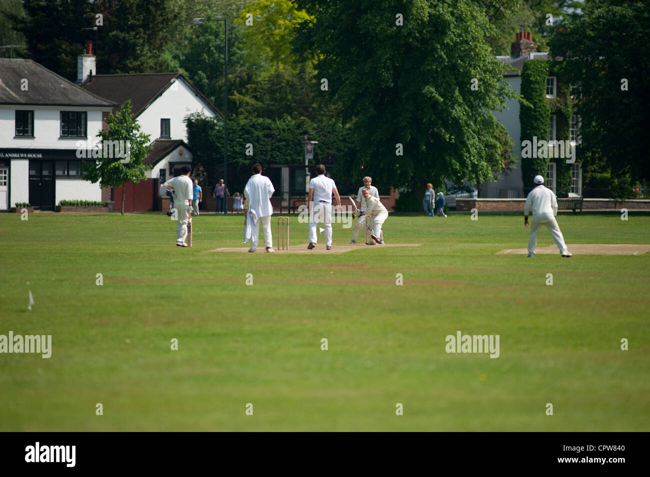Village cricket match at Ham Common in the London Borough of Richmond upon Thames, England, UK Stock Photo