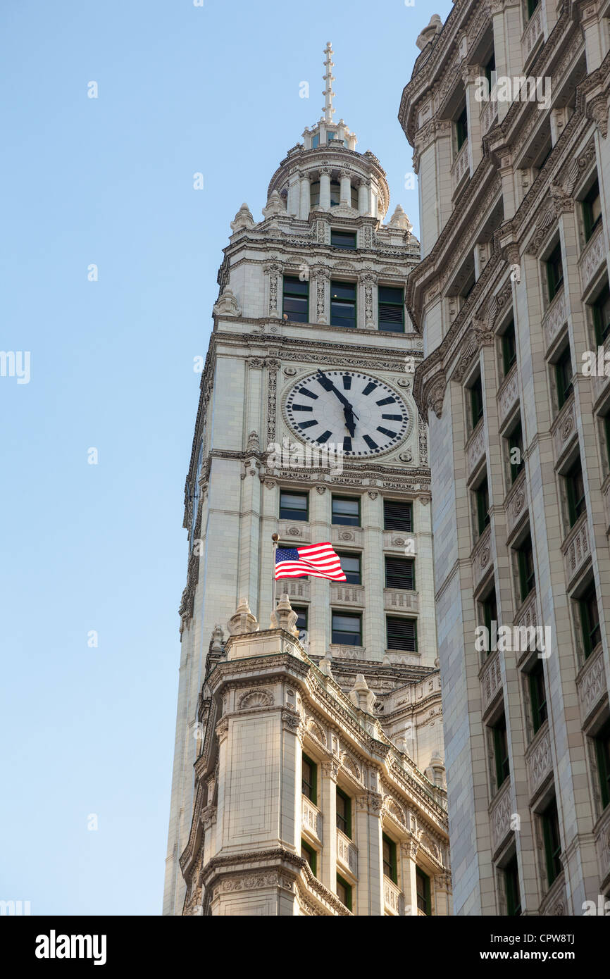 Top of Wrigley Building in Chicago in perspective shot taken from below - Stock Image