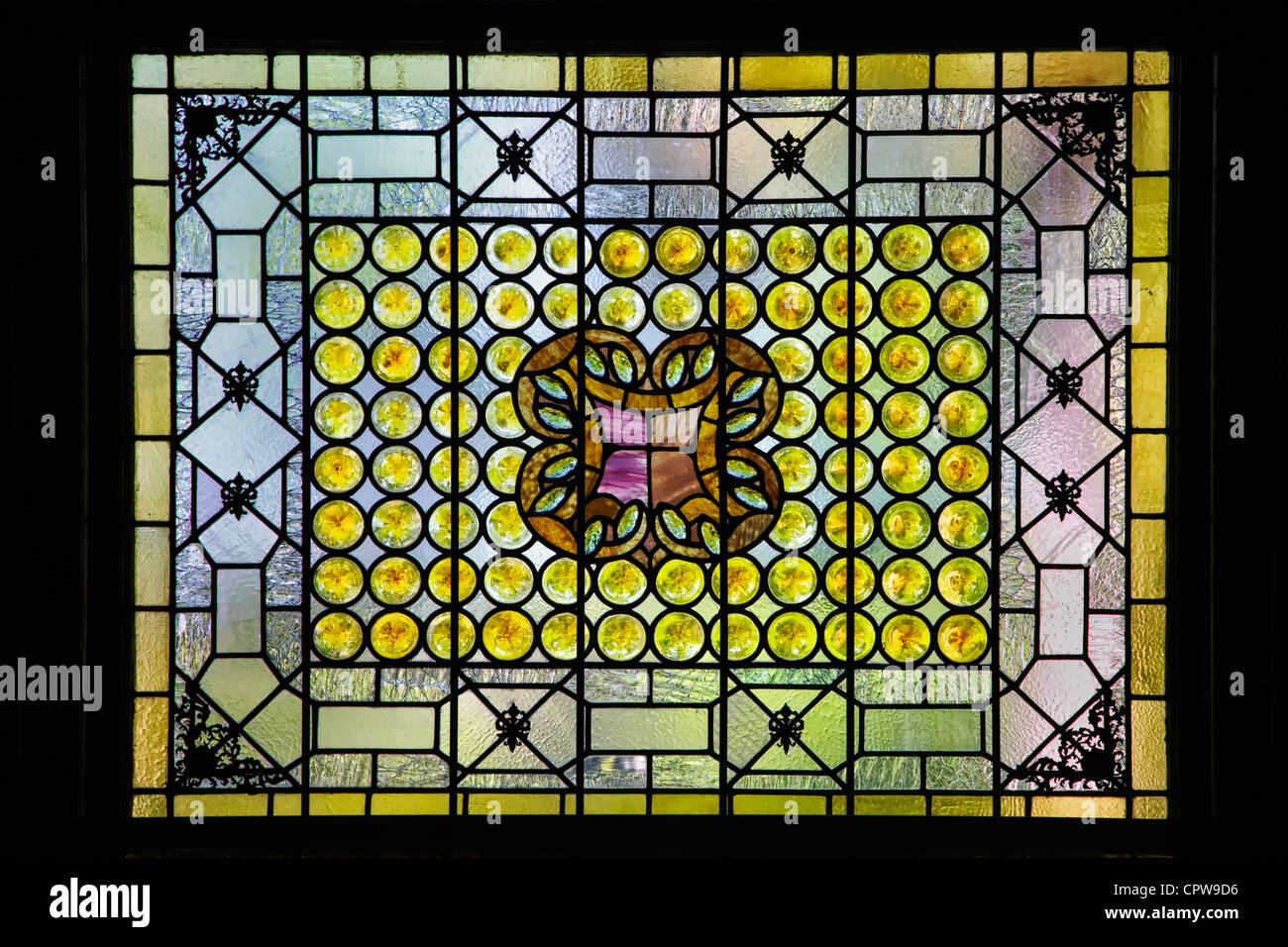 A classic Louis Comfort Tiffany stained glass window in St Augustine's Flagler college, Florida Stock Photo