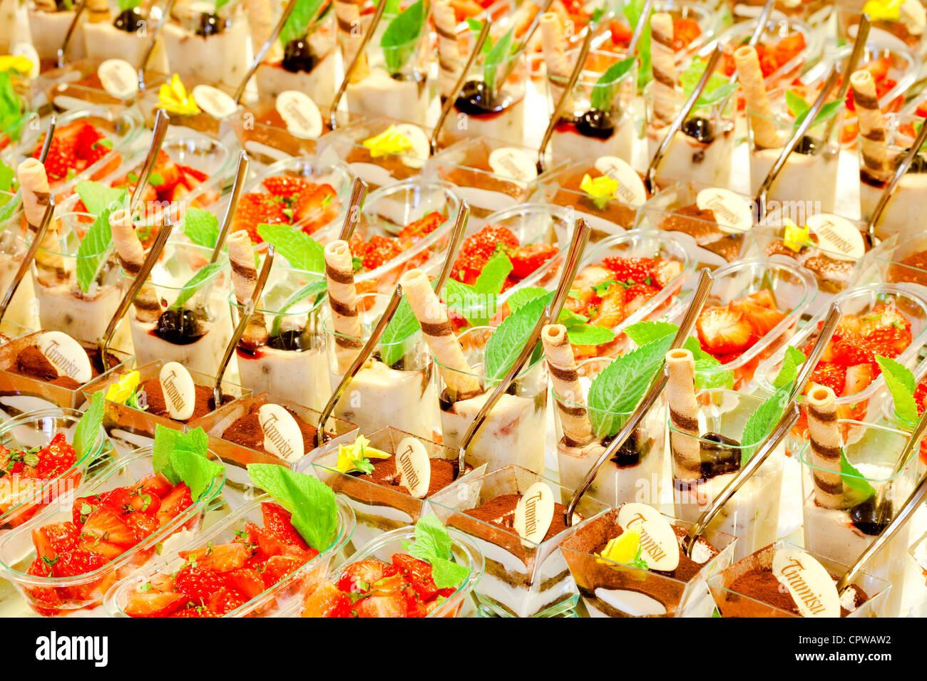 tiramisu dessert served at a party - Stock Image