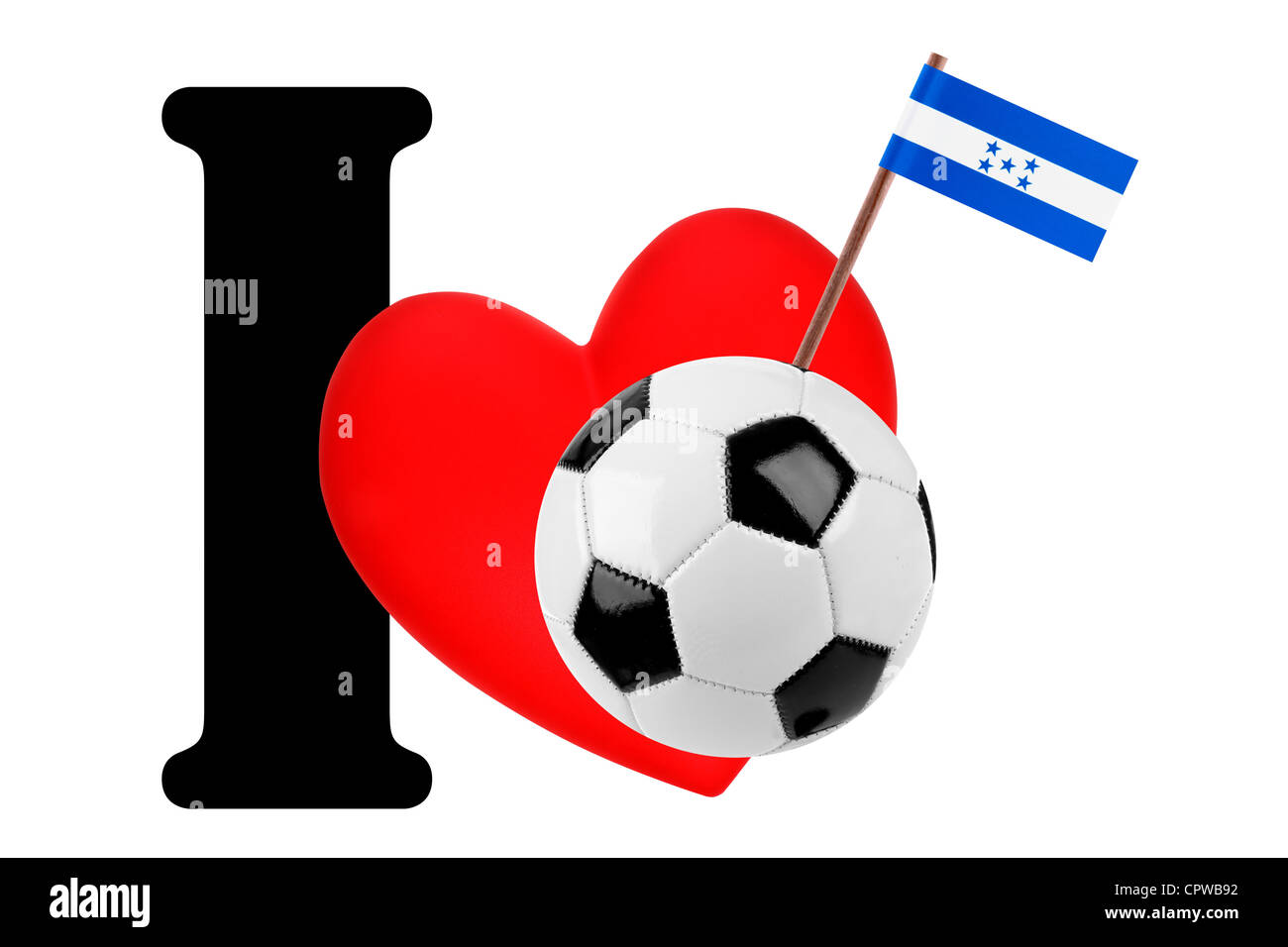 Small flag on a red heart and the word I to express love for the national flag of Honduras Stock Photo