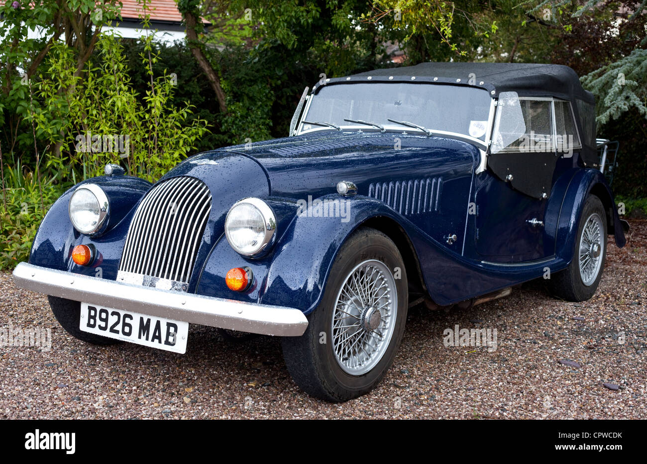 Dark blue Morgan Roadster car, Worcestershire, England, UK - Stock Image