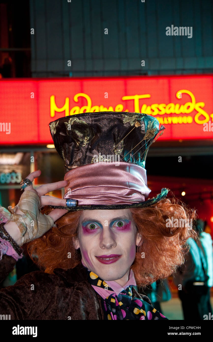 Mad Hatter movie character impersonator from Hollywood Johnny Depp Tim Burton movie Alice in Wonderland - Stock Image