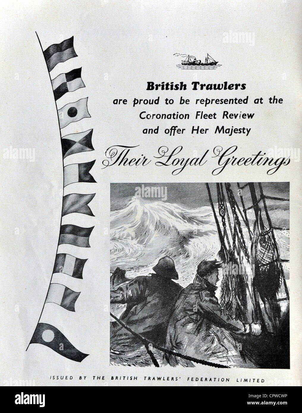 Advert by British Trawlers in the Coronation Naval Fleet Review programme 1953. Britain. - Stock Image
