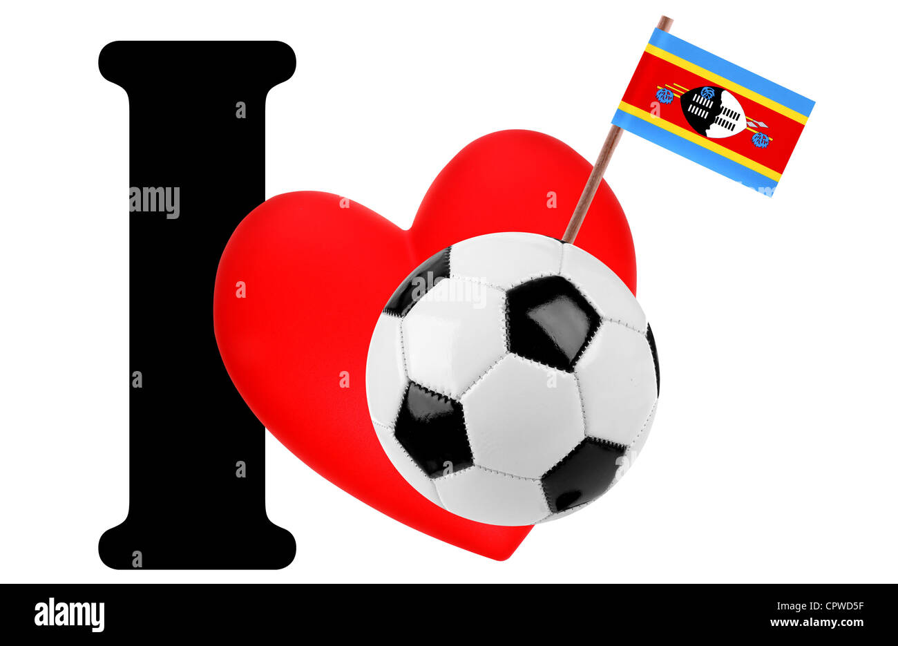 Small flag on a red heart and the word I to express love for the national flag of Swaziland Stock Photo