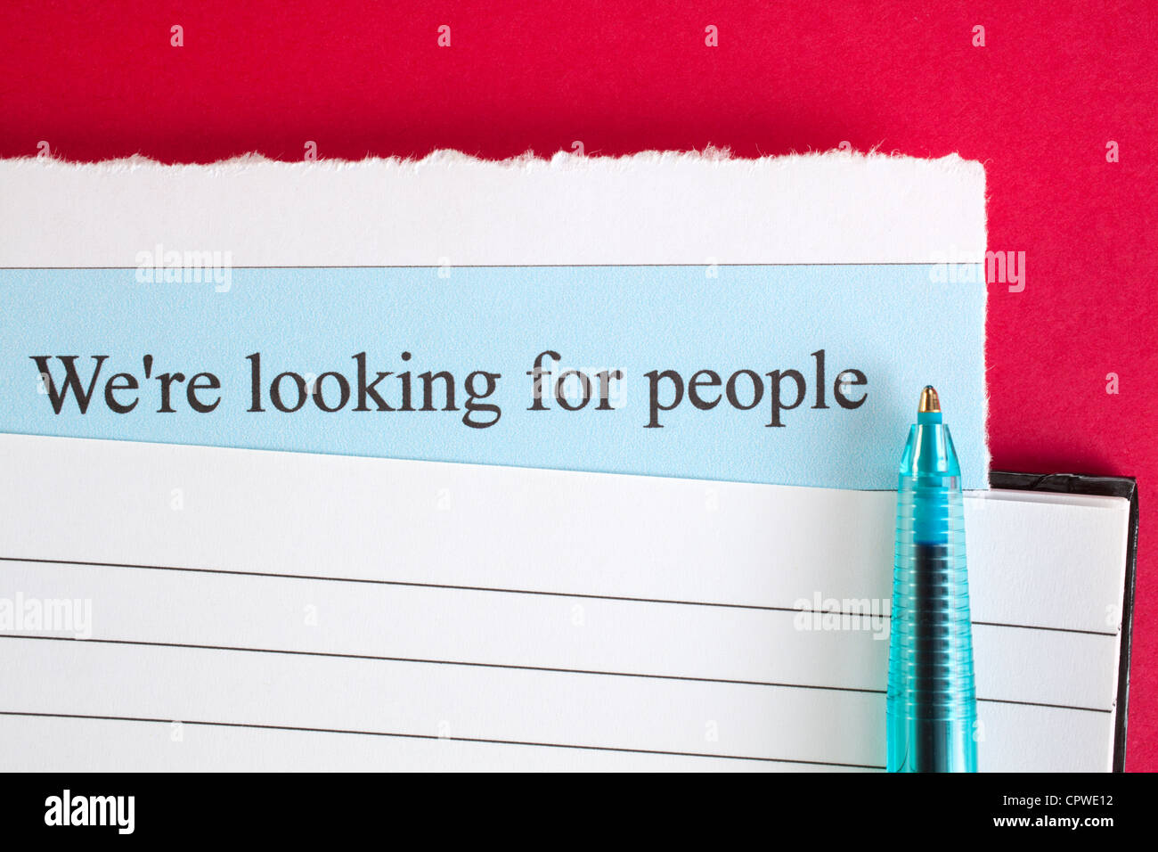 We're looking for people - jobs are becoming more plentiful, so get your CV in order! - Stock Image