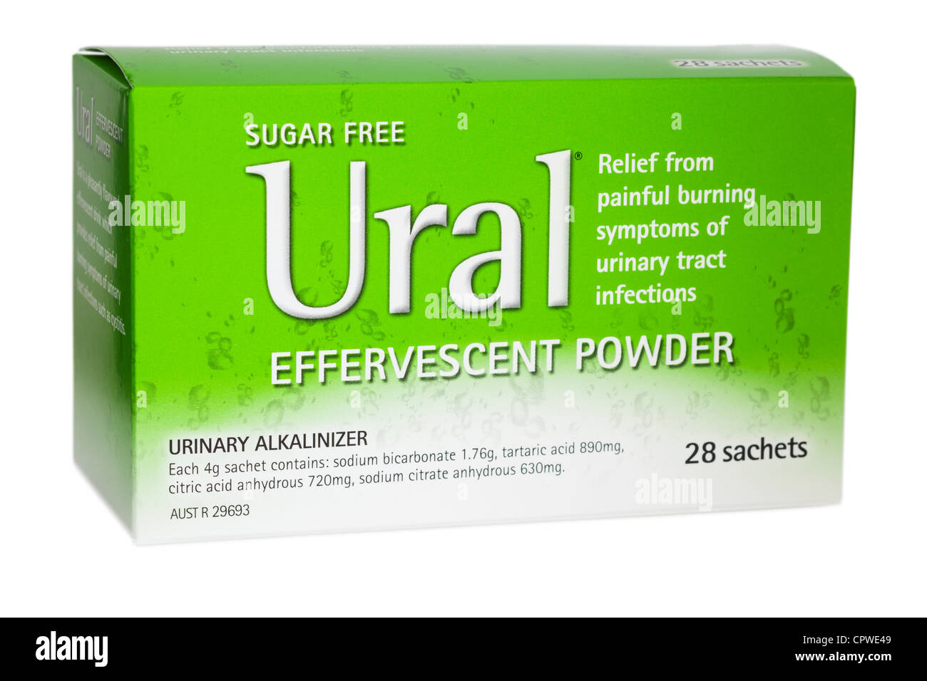 Package of Ural Effervescent Powder urinary alkalizer. - Stock Image