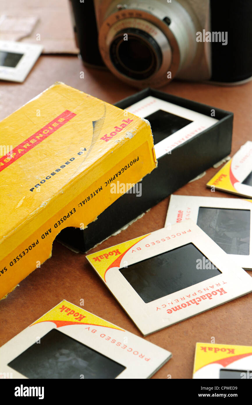 Box of old Kodak Kodachrome slide transparencies - Stock Image