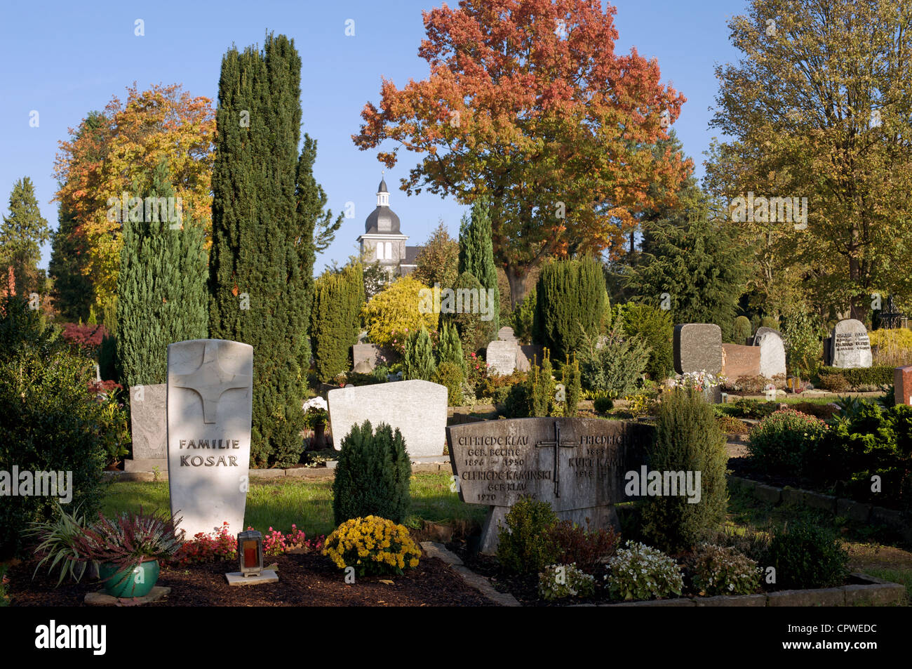 German church and graveyard - Stock Image