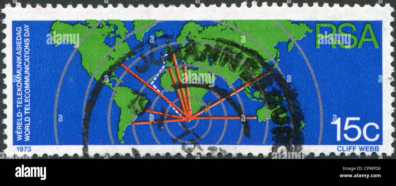 Show South Africa In World Map.A Stamp Printed In South Africa Rsa Show World Map And