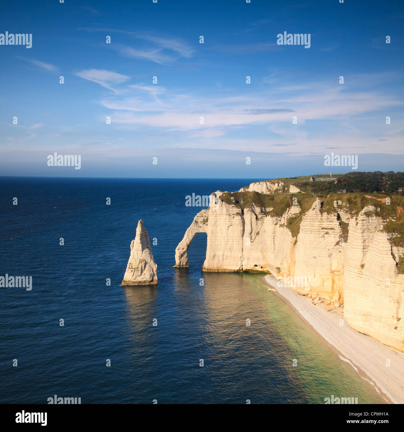 The Needle and the Aval Arch at Etretat Normandy,France, on a fine summer afternoon. - Stock Image