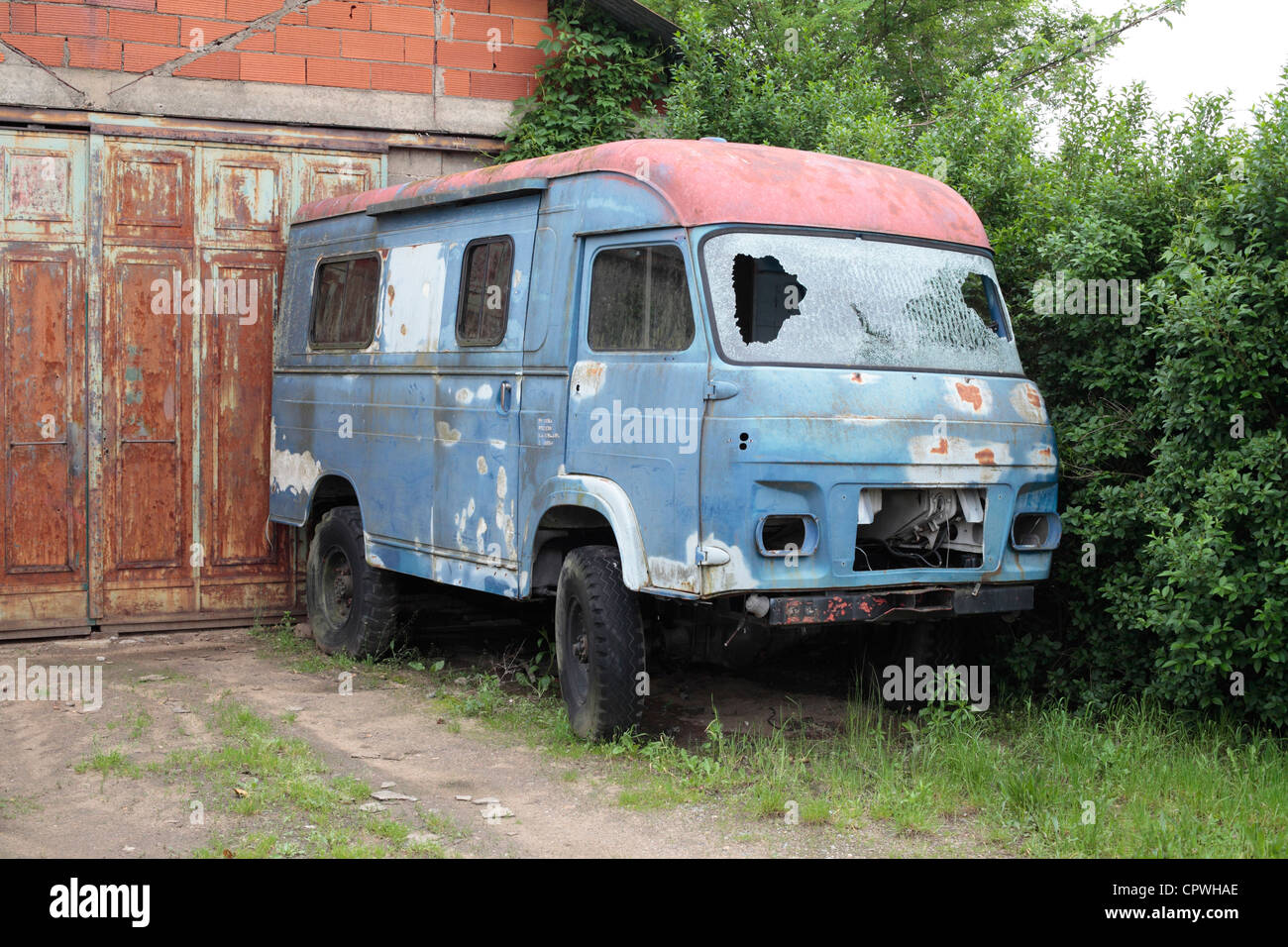 Old Renault Saviem Van - derelict and abandoned. - Stock Image