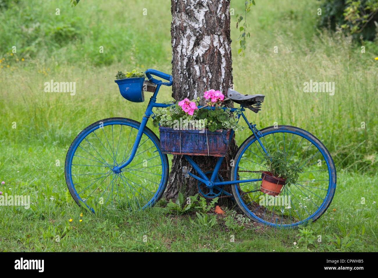Old blue bike seen at a lock on the Canal Lateral a Loire, Nievre, Burgundy, France - Stock Image