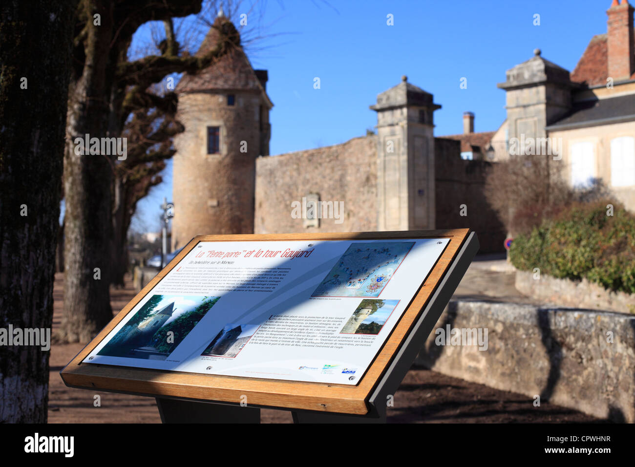 Walled entrance to Avallon in Burgundy, France - La Petite Porte and Gaujaud Tower. - Stock Image