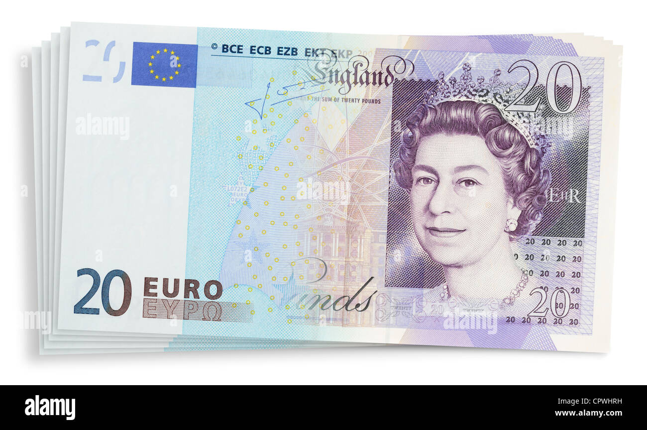 Euro and Sterling banknotes blended together. - Stock Image
