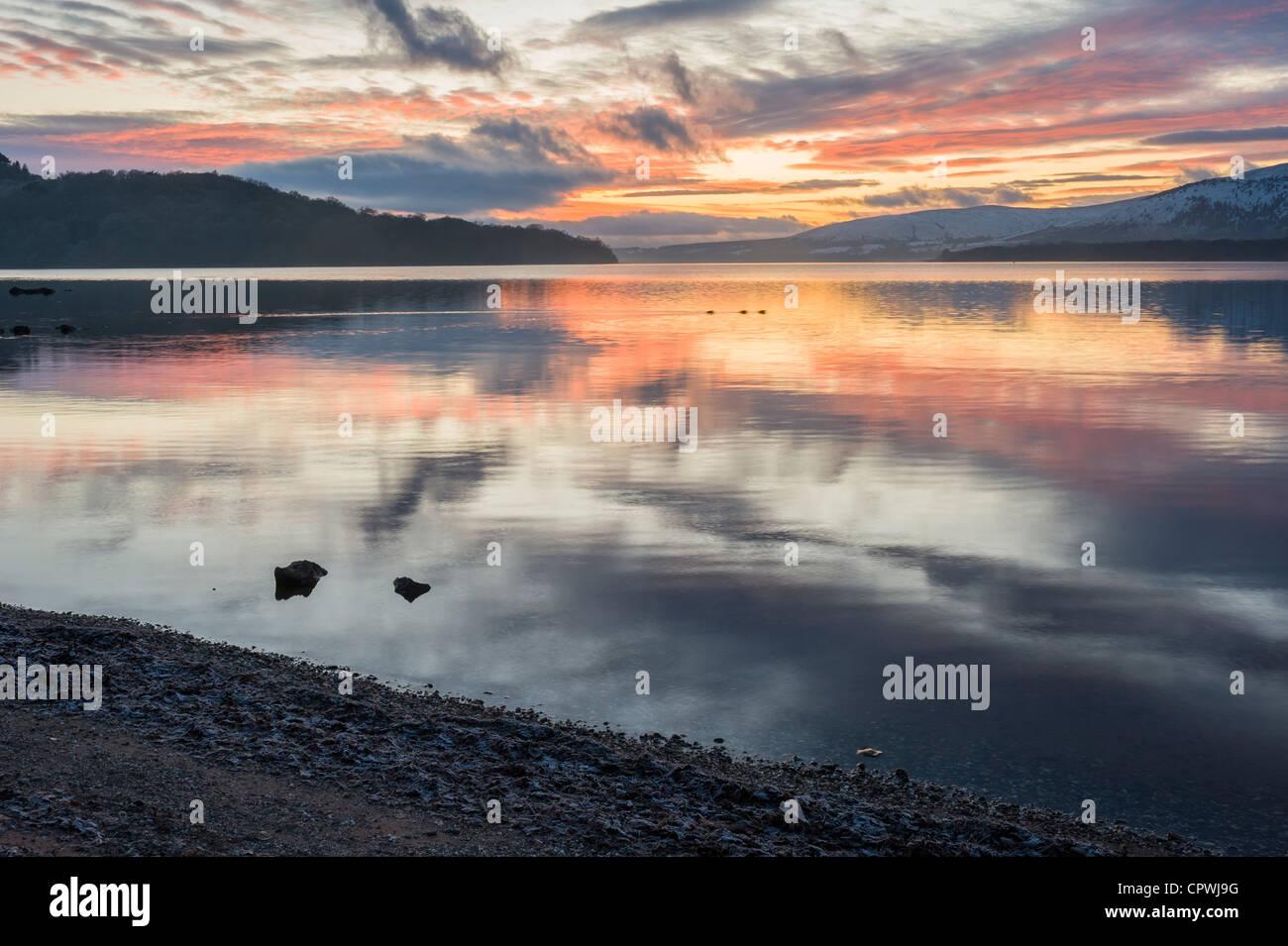 Stunning sunset, Loch Lomond, Scotland, UK - Stock Image