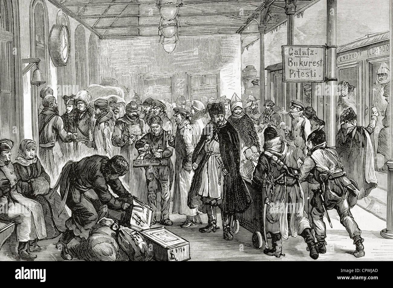 1878 Istanbul TURKEY antique print Turkish Refugees Russo-Turkish War