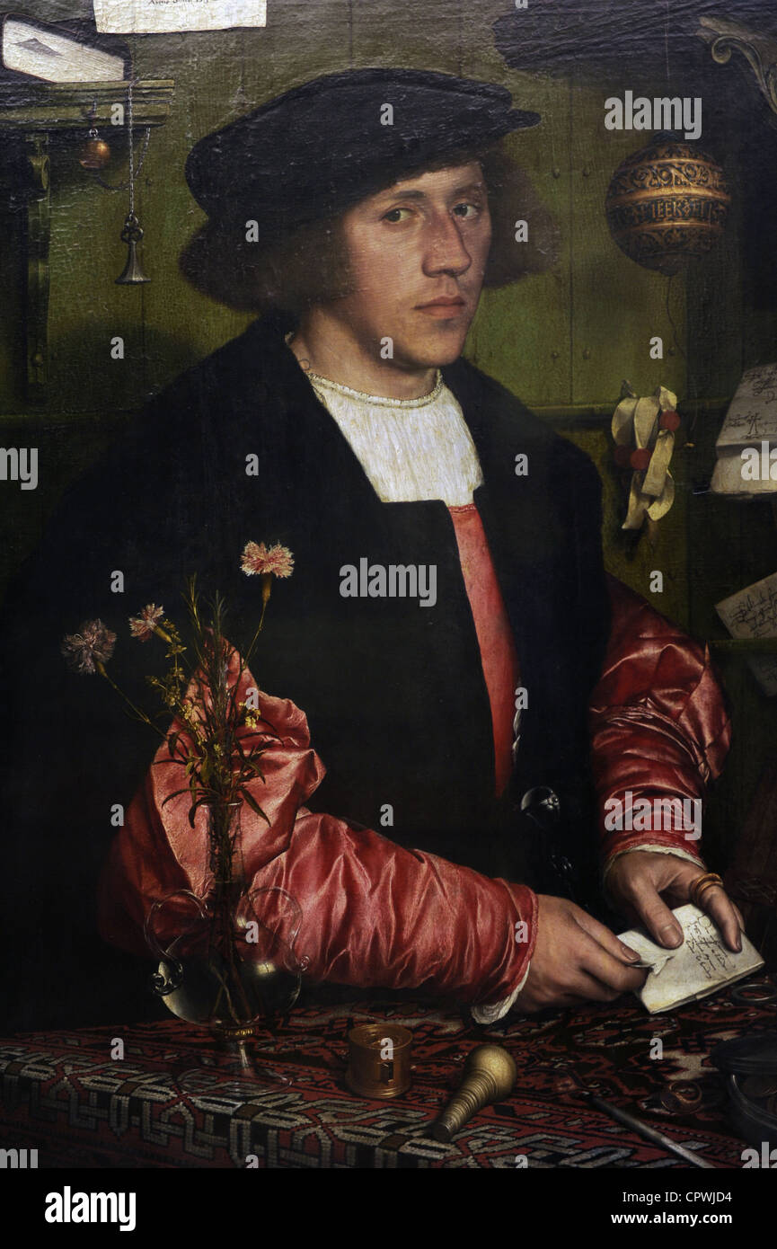Renaissance Art. Germany. Hans Holbein the Younger (c. 1497-1543). Portrait of the Merchant Georg Gisze, 1532. - Stock Image